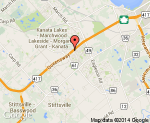 Map location of Kanata Leisure Centre and Wave Pool