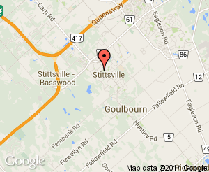 Map location of Johnny Leroux Stittsville Com. Arena